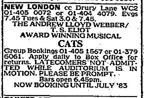 1983 Newspaper advert for CATS