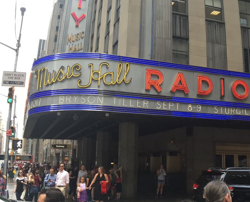 Marquee outside Radio City Music Hall, July 2017